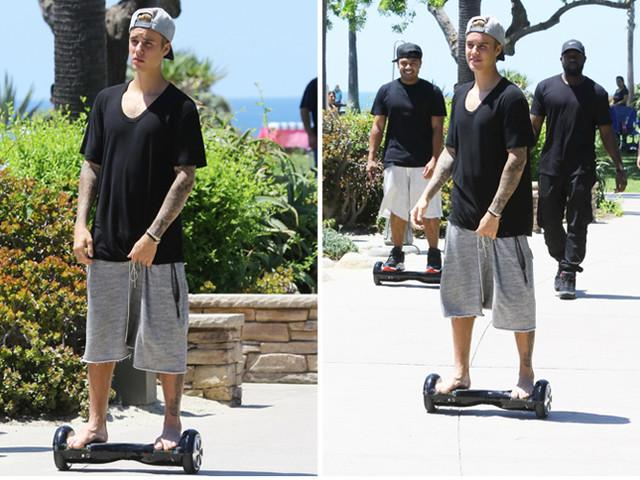 Justin bieber on Hoverboard
